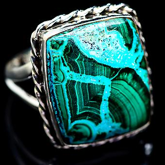 Large Malachite In Chrysocolla Ring Size 12.25 (925 Sterling Silver)  - Handmade Boho Vintage Jewelry RING2958