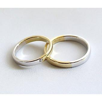 Bicolor Christian wedding rings with diamond