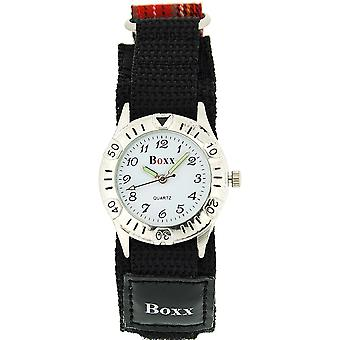 Boxx Unisex Children's Analogue Red Tartan Easy Fasten Strap Sports Watch