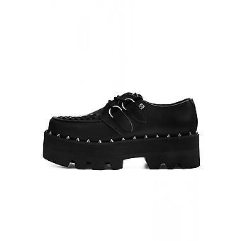 TUK Shoes Black Vegan Leather Dino Lug Stacked Sole