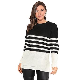 KRISP Women Ladies Loose Jumper Striped Chunky Knit Casual Baggy Sweater Pullover Top