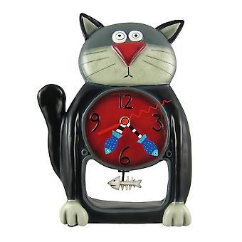 تصاميم الين أسود كيتي القط رقاص ساعة الحائط