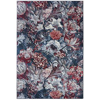 Supersoft floral shortflor rug Flower Symphony Blue Red