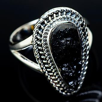 Tektite Ring Size 7.5 (925 Sterling Silver)  - Handmade Boho Vintage Jewelry RING11749