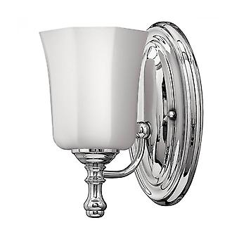 Shelly Wall Lamp, Polished Chrome, White Glass, Led