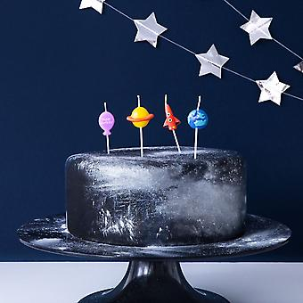 Space Birthday Candles - Cake Decorations x 4