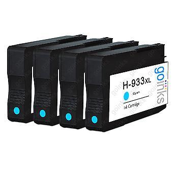 4 Go-inkten Cyaan compatibele printerinktcartridges ter vervanging van HP 933C (XL-capaciteit) Compatibel / niet-OEM voor HP Officejet-printers