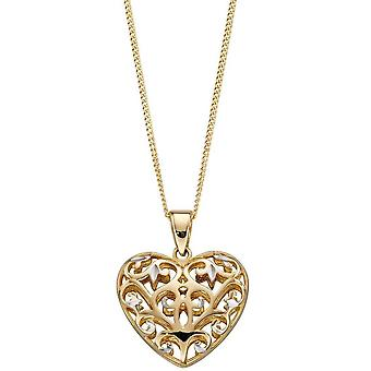 Elements Gold Filigree Heart Pendant - Gold/White Gold