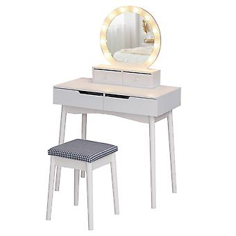 HOMCOM Dressing Table Set with LED with Table Stool Table Stool Set Makeup Dresser Desk with 4 Drawers for Bedroom White