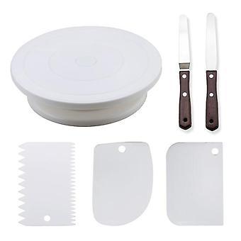 Plast Cake Skivspelare Roterande Cake - Plast deg kniv Dekorera Cream -