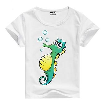 Summer Cotton Short Sleeve T-Shirt, Sea Horse, Infant