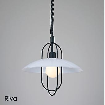 Deco Riva Opal Glass Rise And Fall Pendant Light In Black