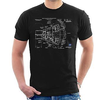 NASA Mercury Spacecraft schematische Herren T-Shirt
