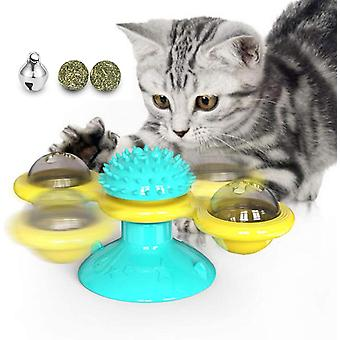 Turntable Teasing Interactive Windmill Cat Toy With Catnip Scratching Tickle