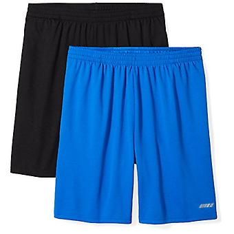 Essentials Men's 2-Pack Loose-Fit Performance Shorts, Black/Royal Blue...