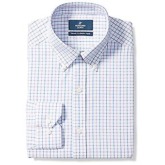 BUTTONED DOWN Men's Tailored Fit Button-Collar Pattern Non-Iron Dress Shirt, ...
