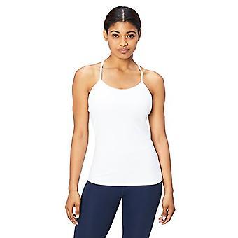 Marke - Core 10 Frauen's Yoga fitted Support Tank, weiß, Mittel