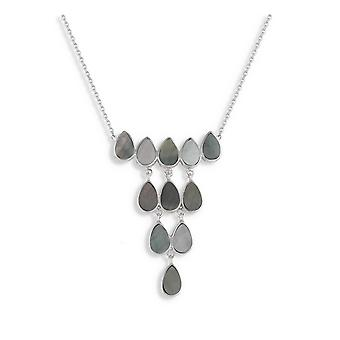 ADEN 925 Sterling Silver Grey Mother-of-Pearl Necklace (id 2987)