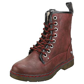 Mustang Lace Up Side Zip Womens Ankle Boots in Burgundy