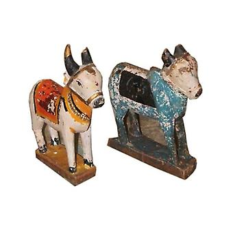 Deco4yourhome Wooden Antique Cow