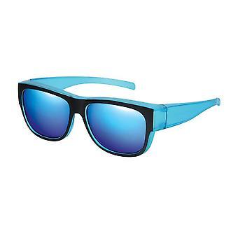 Sunglasses Unisex Black with Blue Mirror VZ0024K