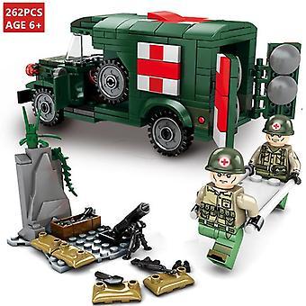 262pcs Ambulance militaire Blocs de construction Ww2 Soldat Véhicule Camion de l'armée