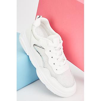 Lace Up Chunky Mesh Trainers