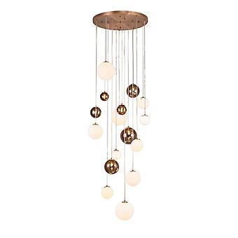 Luminosa Belysning - Loft Cluster Vedhæng, 16 x G9, Antik Kobber, Opal & Kobber Glas