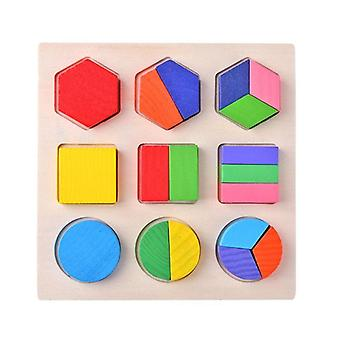 Wooden Geometric Shapes Montessori Puzzle Sorting Math Bricks Preschool