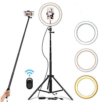 Selfie Ring Light Dim Able Tripod Stand Cell Phone Holder Mini Led Camera