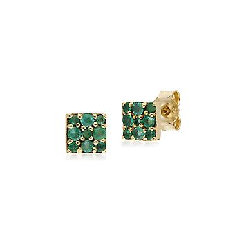 Classic Style Round Emerald Cluster Stud Earrings in 9ct Yellow Gold 132E2573039