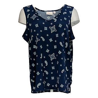 Belle by Kim Gravel Women's Top Printed Knit V-Neck Tank Blue A373653
