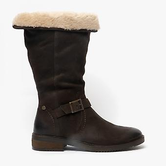Hush Chiots Bonnie Ladies Cuir Mid Height Boots Brown