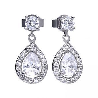 Diamonfire Silver White Zirconia Teardrop Shape Boucles d'oreilles E5594