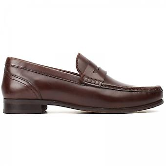 Base London Cassio Washed Mens Leather Loafers Brown