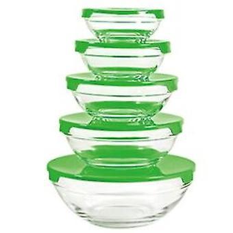Stohovateľná miska 5ks - zelená