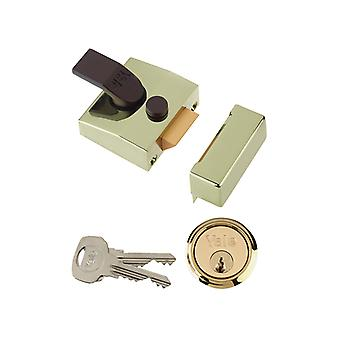 Yale Locks 85 Deadlocking Nightlatch 40mm Backset Brasslux Finish Box YAL85BLXPL