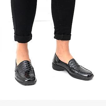 ريكر 583a0-00 السيدات زلة على الأحذية براءات الاختراع الزواحف السوداء