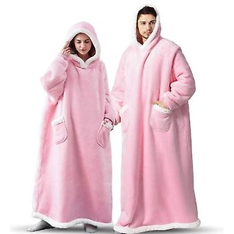 Extended Vertical Pockets Fleece Collar Hooded Lazy Blanket Flannel Lamb Wool Couple Pyjamas