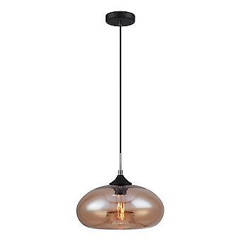 Italux Valio - industriell og retro hengende anheng svart 1 lys med skinnende skygge, E27