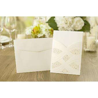 10 'HANNAH' Lace and Gold Laser Cut Pocket Invitations