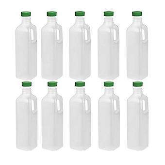 10X 1L Hdpe Juice Bottles Empty Plastic Natural Square Evident Cap