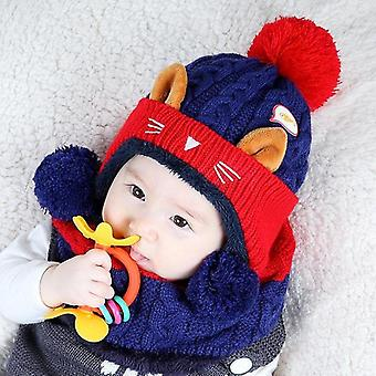 Cartoon Kitten Velvet Wool Kids Beanies Knitted Fur Hats Winter Scarf