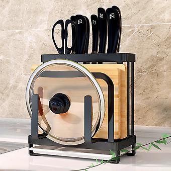 304 Stainless Steel Knife Holder Kitchen Supplies Multi-function Knife Holder Rack Kitchen Knife Cutting Board Put Knife Storage Shelf