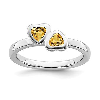 925 Sterling Silver Bezel Poli Stackable Expressions Citrine Double Love Heart Ring Jewelry Gifts for Women - Ring S