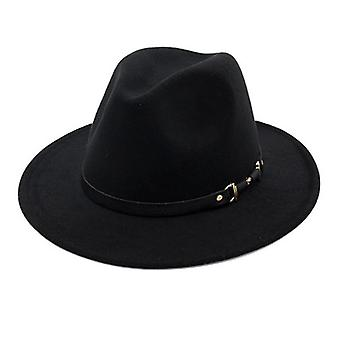 Wide Brim Simple Church Derby Top & Felt Fedoras Hat And Artificial Wool Blend