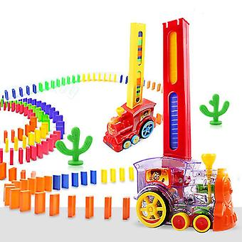 Electric Domino Train Car Vehicle Model, Magical Automatic Set Up Colorful