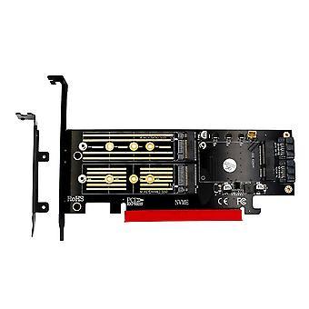 3 in 1 M.2 NGFF NVME SATA SSD auf PCI-E 4X und SATA3 Adapter mit Kühlkörper gelb