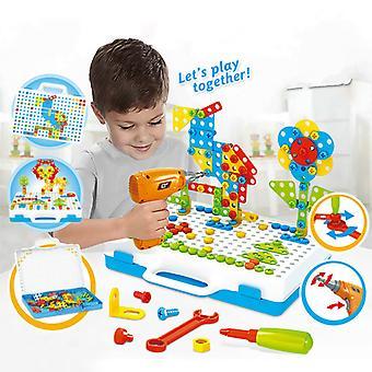 子供のための掘削ねじ3Dクリエイティブモザイクパズルのおもちゃレンガおもちゃ子供DIY電気ドリルセット男の子教育玩具
