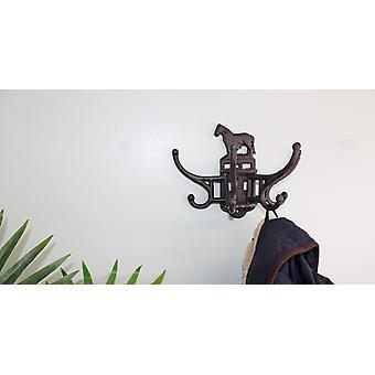 Cast Iron Wall Mounted Rotating Coat Hooks, Horse, 8 hooks